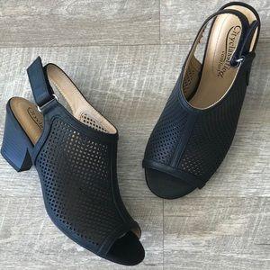 New! Comfort Black Velcro Slingback Bootie Sandal